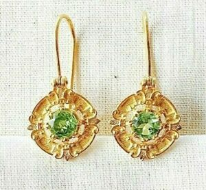 Amazing Vintage look Fine Peridot 14K Gold Vermeil Over Sterling Silver Earring