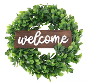 Welcome Sign on Green Garland Wreath 14 inches Farmhouse Front Door Decor
