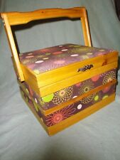 "(2501) VINTAGE sewing knitting box basket 9x9x6"" ~ 11"" with handle up"