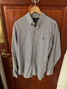 Mens Ralph Lauren Formal Dress Shirt 16.5inches Classic Fit Pin Stripe Blue