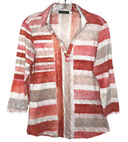 David Cline Women's 3/4 Sleeve Crinkle Print Top w/Collar Red White Size M USA