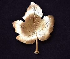 Mamselle Maple Leaf Brooch Coat Sweater Pin Signed Mid Century Costume Jewelry