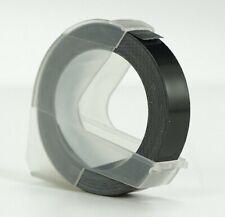 BLACK embossing tape cassette cartridge, 9mm by 3m for DYMO embosser labellers
