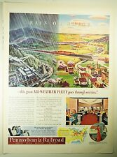 Vintage 1941 PENNSYLVANIA RAILROAD Lg Full Pg Magazine Print Ad: RAIN OR SHINE
