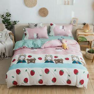4 pcs Cute Bed Set Fruit Cartoons Queen Size Sheets Adult Children Duvet Quilt