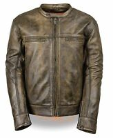 Mens Distressed Brown Leather Scooter Jacket with Venting, Gun Pockets