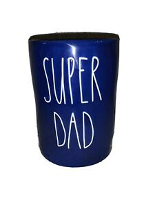 Rae Dunn SUPER DAD Blue Peppered Suede Candle New