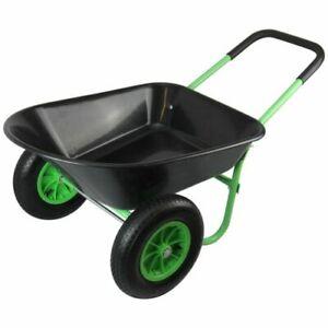 Wheelbarrow Poly Tray 75L / 120kg Dual 2 Wheels Gardening Cart Wheel barrow