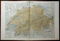 Switzerland Geneva Lucerne Zurich Bern Swiss Alps 1874 Color Lithographed Map
