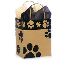 100 Paw Print Brown Kraft paper bags high quality wholesale 8x4x10 Cub USA pet