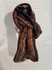 """Handmade Scarf  5"""" by 68"""" Brown Blue Rust   Soft acrylic yarn"""