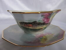 Limoges Hand Painted Fish Gravy Boat