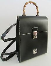 Dooney & Bourke Black Leather Backpack with Bamboo Handle Made Italy