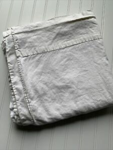 RH Restoration Hardware Stonewashed White Cotton Linen FLAT Sheet Cal King