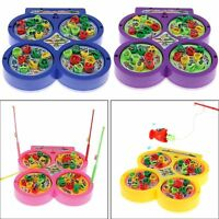Electric Rotating Magnet Fish Fishing Pretend Game Children Educational Toy GD