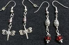 2 Pairs Pretty Red Silver Ladybug Dragonfly Crystal Drop Dangle Earrings