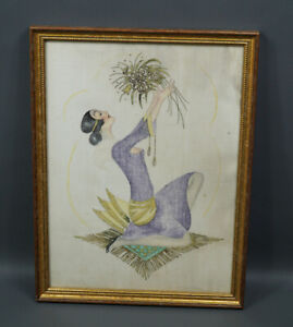1920s Antique Art Deco Flapper Young Girl Painting Silk Woman Portrait  Framed