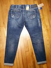 Silver Girlfriend Jeans Size 33 Medium Indigo Wash Super Stretch New With Tags