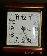 VINTAGE WESTCLOX TRAVEL ALARM CLOCK RED FOLDING HARD CASE WORKING