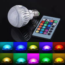 E27 3W RGB LED Light 16 Colors Changing Lamp Bulb AC 85-265V+IR Remote Control