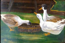 Picture Painting Um 1900 Ducks