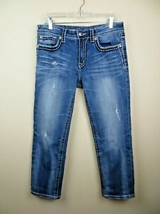 Miss Me Boyfriend distressed cropped jeans size 28 medium wash loose fit