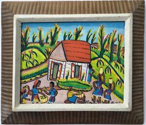 Vintage Mid Century Montas Antoine Original Oil Painting Haitian Black Folk Art