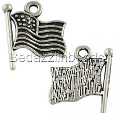 10 Antique Silver American Flag USA Drop Charms Plated Over Pewter Base Metal