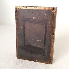 Tampon d'Imprimerie Eau Forte Porte Parapluie Cuivre XIXè Antique French Stamp