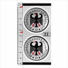 BUNDESFINANZVERWALTUNG set of 2 German Number Plate Seal Stadt 3D Domed Sticker
