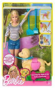 Barbie Hundespaziergang Barbie Puppe + Hündchen Dog Set Mattel DWJ68 NEU & OVP