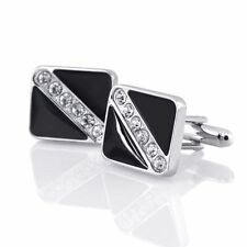 Silver Crystal Stainless Steel Mens Wedding Shirt Cuff Links Square Cufflinks