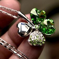 Neu Versilbert Strass Kristall FourLeaf Clover Kette Anhänger Halskette Geschenk