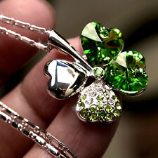 1*Versilbert Strass Kristall Four Leaf Clover Statement Kette Anhänger Halskette