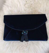 New JCREW Velvet envelope clutch G0343 Blue $118