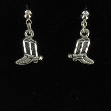 Cowboy Boot Earrings - Pewter Pair Dangle Boots Posts Studs Antique Finish NEW
