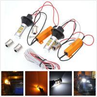 2Pcs 12V 1156 7506 BAU15S Amber-White Switchback Car LED DRL Turn Signal Lights&