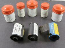 5 Vintage Kodak Metal Film Canisters Lot Red/Orange White 3 film 2 Sizes A8578