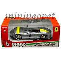 BBURAGO 26027 FERRARI MONZA SP1 1/24 DIECAST MODEL CAR w/ YELLOW STRIPES SILVER
