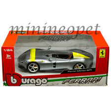 BBURAGO 26027 FERRARI MONZA SP1 1/24 DIECAST MODEL CAR w/ YELLOW STRIPES SILVER