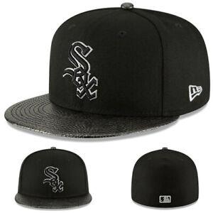 New Era Chicago White Sox Black Fitted Hat MLB On Field Snakeskin Visor Cap
