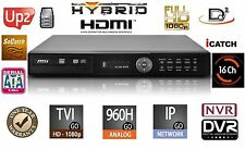 16 Channels HD H.264 Hybrid Security DVR/NVR TVI/960/IP/Cloud/Audio/Mobile 8TB
