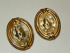 CAROLEE signed Large facet Crystal goltone with X design clipon Earrings