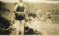 Rare Antique Western American Ranching Cowboys & Swimmers! Dog! Snapshot Photo!