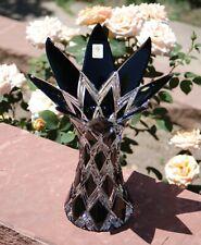 """BLACK HARLEQUIN"" MASTERWORK* (2007) CAESAR CRYSTAL BOHEMIA Cut Glass Vase CZECH"
