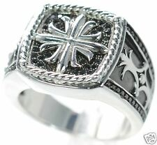 Men's Solid 925 Sterling Silver Black Pave CZ Cross Ring Size-11 '