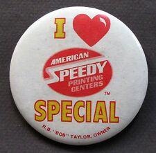 1983 I Love AMERICAN SPEEDY Special pinback button hydroplane boat racing