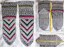 Persian Kurdish Art Hand Knitted Patterned Yarn Socks Slippers Toe to heel 25cm