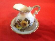 Vintage Lefton Minture Pitcher and Bowl set Yellow Rose print with Gold Trim