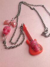 Original Tarina Tarantino Pink Skull Guitar Rock Bow Necklace, Authentic, Greece